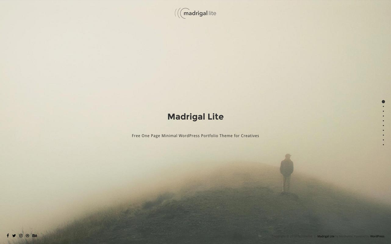 Madrigal Lite : Free One Page WordPress Theme - Northeme