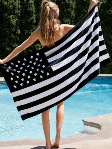 American Flag BW Towel
